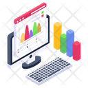 Online Analytics Online Graphical Report Online Chart Icon