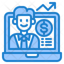 Online Growth Businessman Reporter Icon