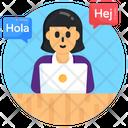 Online Linguistics Online Interpreter Online Language Learning Icon