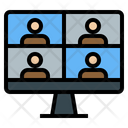 Conference Work At Home Office Online Group Icon