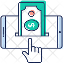 Online Money Mobile Transection Digital Money Icon