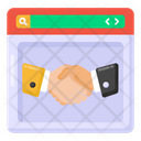 Online Contract Online Partnership Online Deal Icon