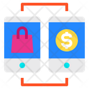 Smartphone Mobile Shopping Bag Icon