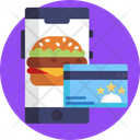 Food Delivery Online Payment Smart Card Icon