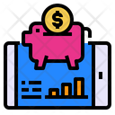 Mobile Piggy Bank Screen Icon