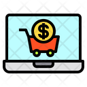 Laptop Money Cart Icon