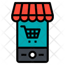 Shopping Online Smartphone Cart Shopping Online Icon
