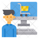 Online Shopping Ecommerce Man Icon