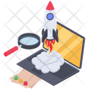 Online Startup Project Online Launching Rocket Icon