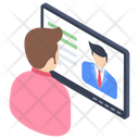 Online Teacher Distance Learning Online Lecture Icon