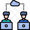 Online Working Work From Home Cloud Computing Icon