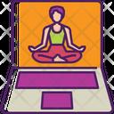 Online Yoga Meditation Laptop Icon