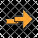 Orange Arrow With Folding Line Icon