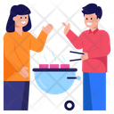 Friends Cooking Outdoor Cooking Bbq Icon