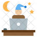 Overtime Night Work At Home Office Workplace Icon