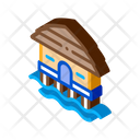 Bungalow House Water Icon