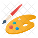 Paintbrush And Paint Tray Icon