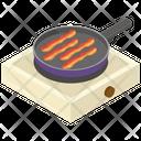 Pan Frying Bacon Fried Bacon English Breakfast Icon