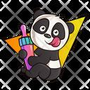 Panda With Baby Feeding Bottle Icon
