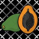 Papaya Healthy Fruit Half Cut Papaya Icon
