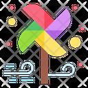 Paper Fan Wind Colorful Icon