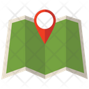 Paper Map With Pin Map Paper Map Icon