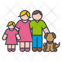Parents Daughter And Dog Icon
