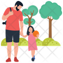 Father And Daughter Football Playing Picnic Time Icon