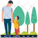Father And Son Outdoor Walking Family Time Icon