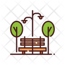 Park Bench And Lamp Bench Icon