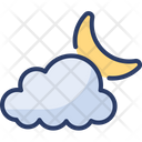 Partly Cloudy Night Moonlight Starry Icon