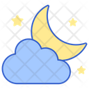 Partly Cloudy Night Moonnight Starry Icon