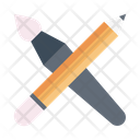 Pencil And Brush Paint Brush Icon