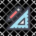 Pencil And Triangle Rule Icon