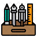 Pencil Case Design Tools Art Icon