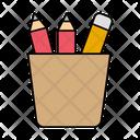 Pencil Holder School Stationery Icon