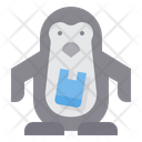 Penguin Eat Plastic Bag Icon