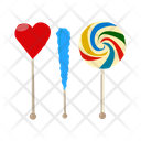 Peppermint Candies Swirl Lollipops Twisted Pops Icon