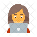 Person With Laptop Female Icon