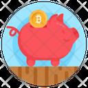 Bitcoin Piggy Box Piggy Bank Money Savings Icon