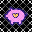 Piggy Bank Love Icon