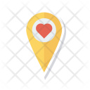 Pin Heart Location Icon