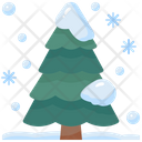 Pine Tree Snowing Winter Icon