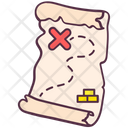 Pirate Map Route Map Paper Map Icon