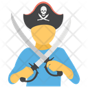 Pirate With Sword Pirate Crossed War Weapon Icon