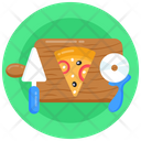 Pizza Rolling Pizza Cutting Pizza Serving Icon