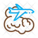 Plane Flies In Clouds Icon