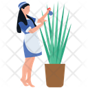 Plant Care Female Gardner Plant Spray Icon