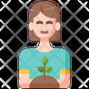 Planting Woman Plant Icon
