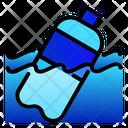 Plastic Bottle Sea Icon